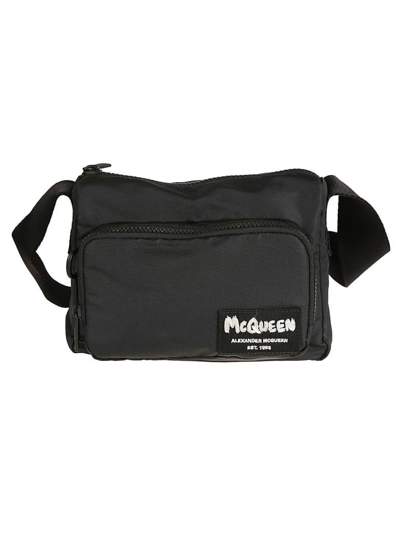 Alexander McQueen Logo Patched Shoulder Bag - Nero