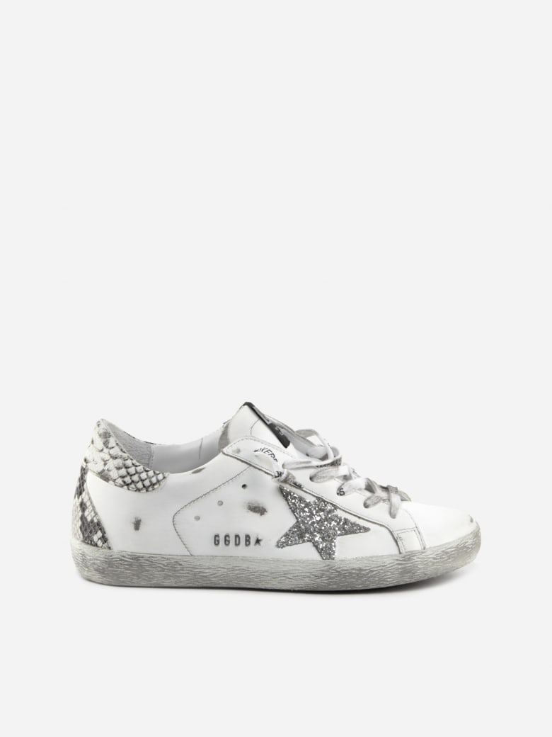Golden Goose Superstar Sneakers In Leather With Python-effect Heel Tab - White