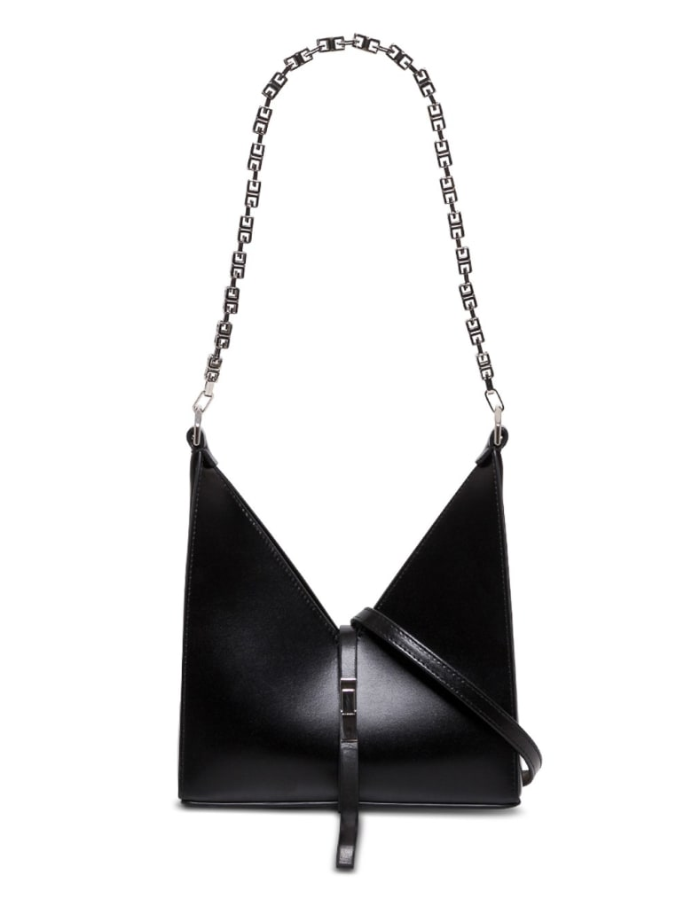 Givenchy Cut Out Crossbody Bag In Box Leather With Chain - Black