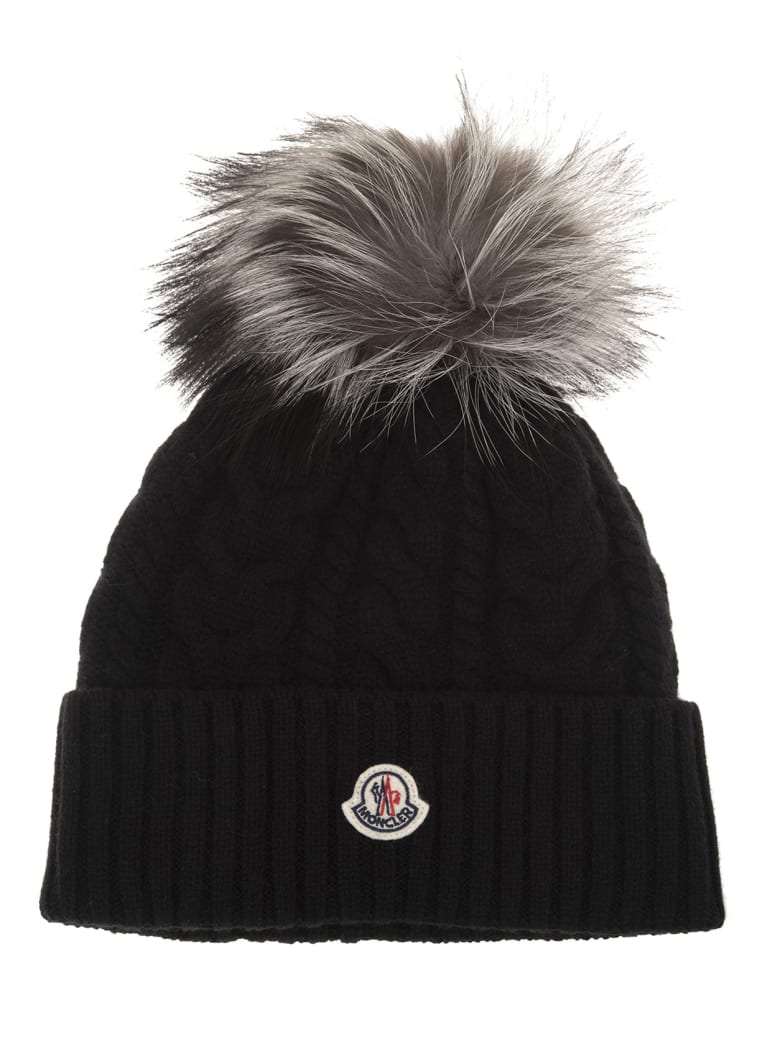 Moncler Woman Black Braided Beanie With Fox Pompon