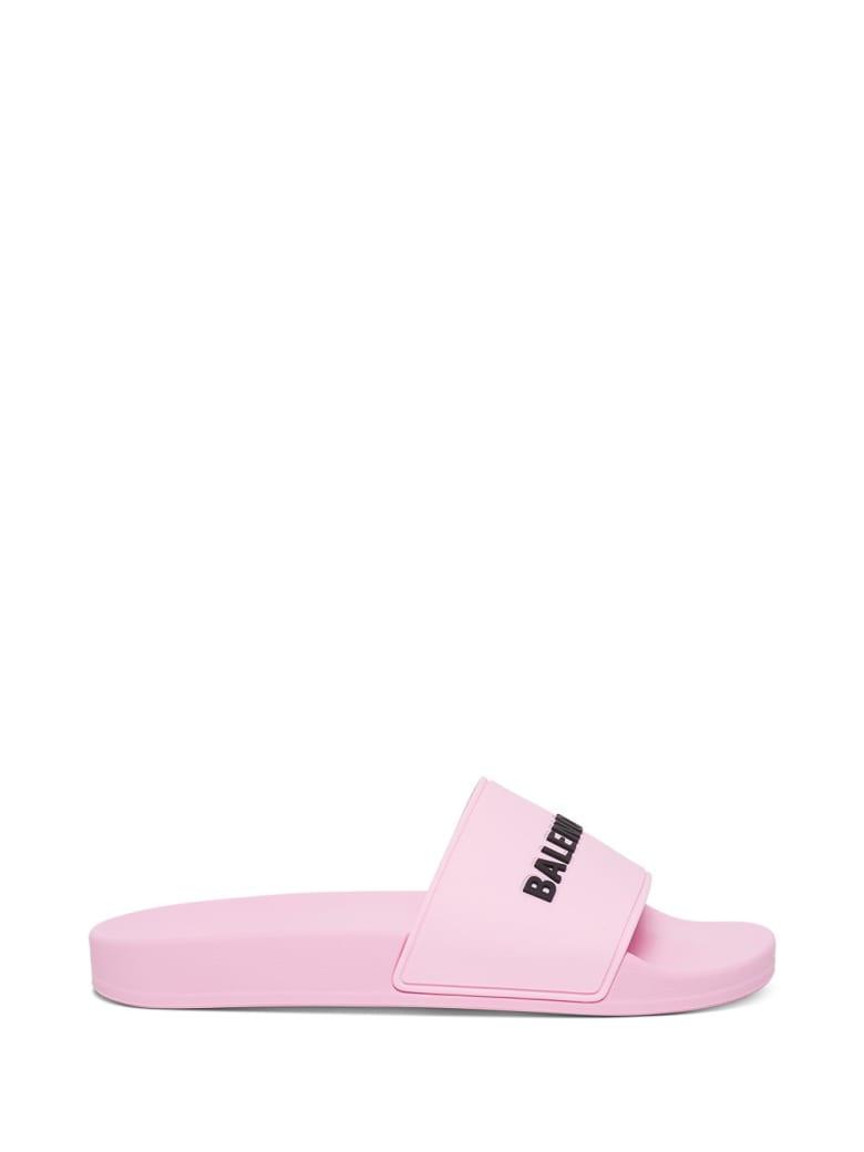Balenciaga Rubber Slide Sandals With Logo - Pink