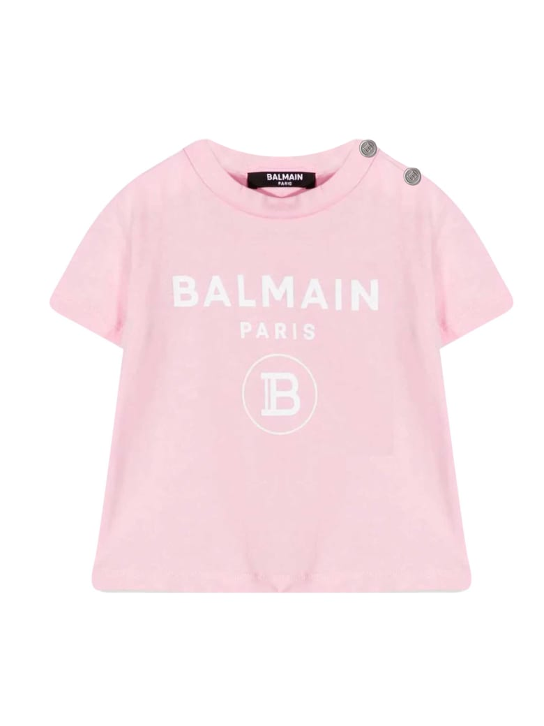 Balmain T-shirt With Print - Rosa/bianco