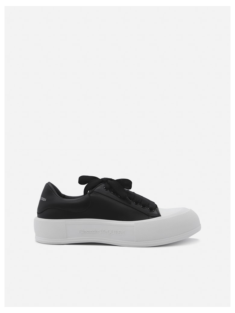 Alexander McQueen Leather Sneakers With Contrasting Inserts - Black