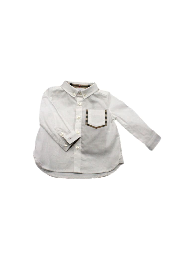 Burberry Shirt With Check Pocket - White