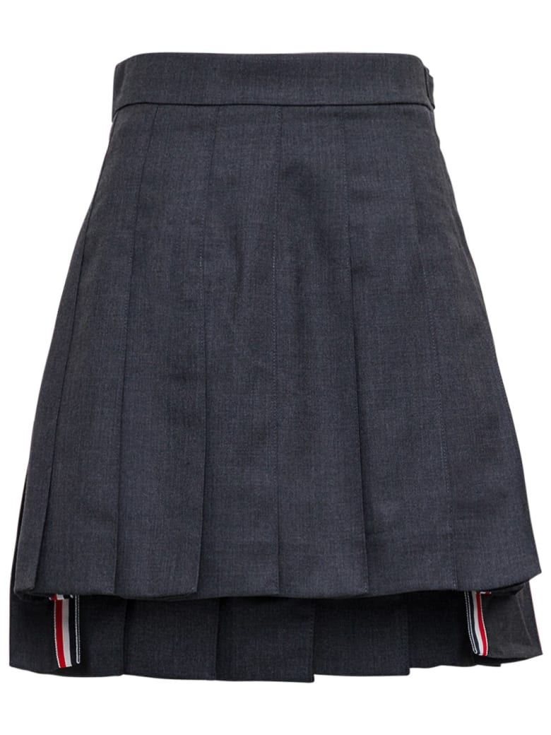 Thom Browne Asymmetrical Pleated Skirt In Grey Wool - Grey