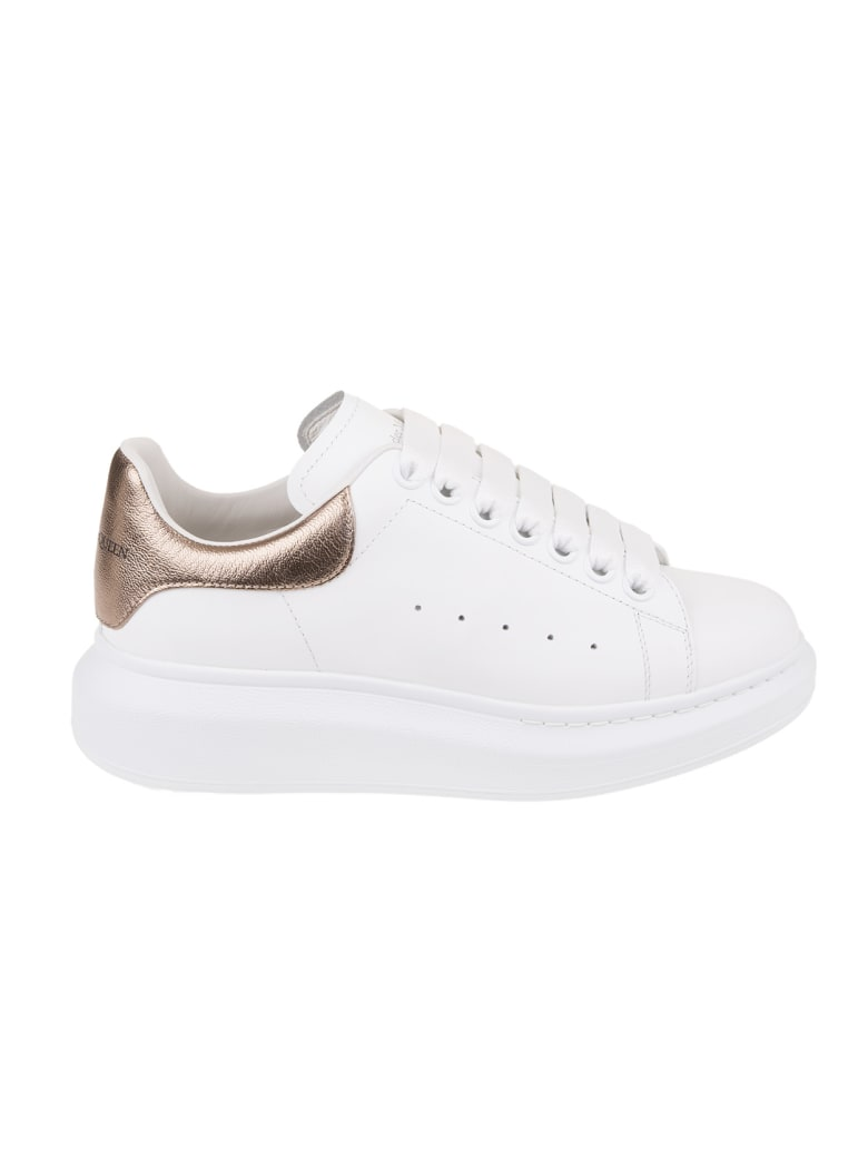 Alexander McQueen Woman White And Metallic Pink Oversize Sneakers - White/rose gold
