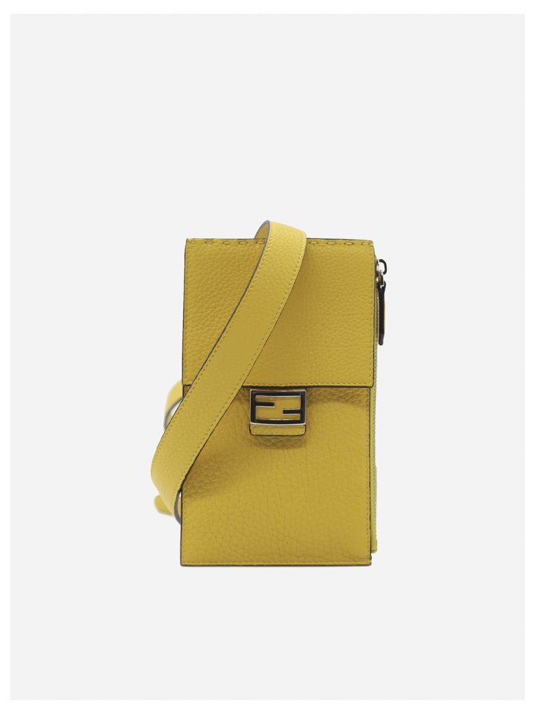 Fendi Baguette Cell Phone Holder In Leather - Yellow
