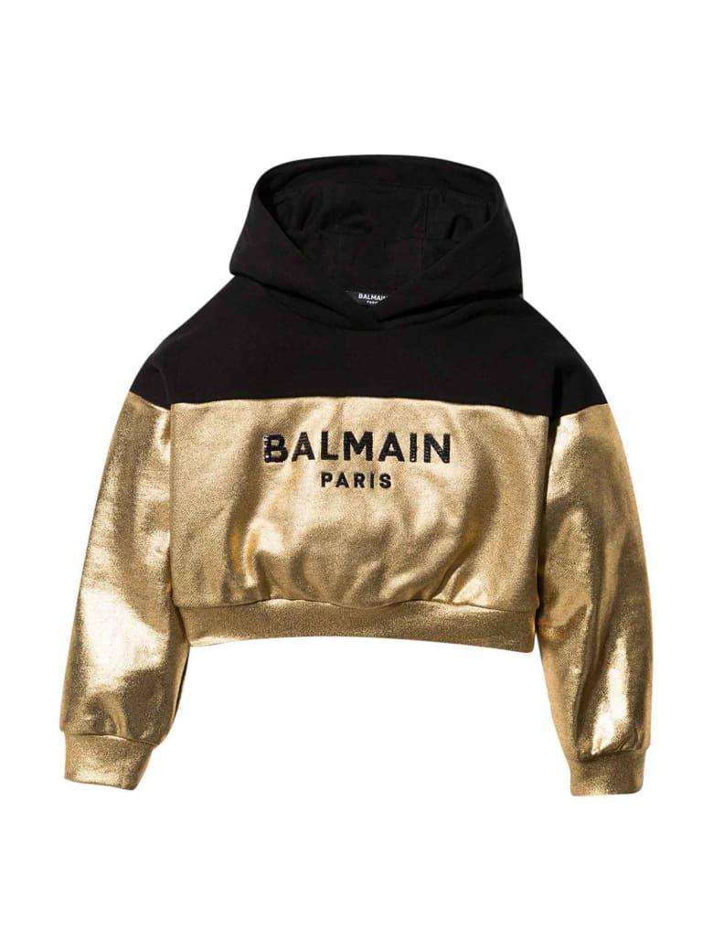 Balmain Gold And Black Sweatshirt With Hood