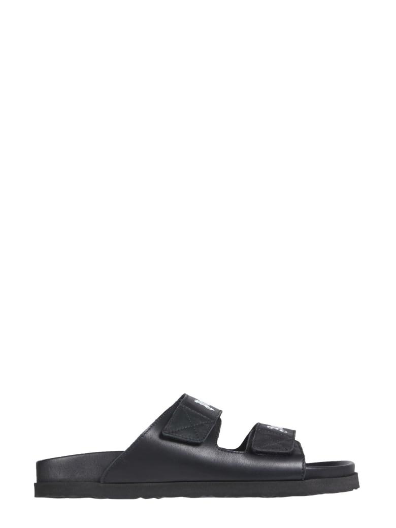 Palm Angels Leather Sandals - Nero e Bianco