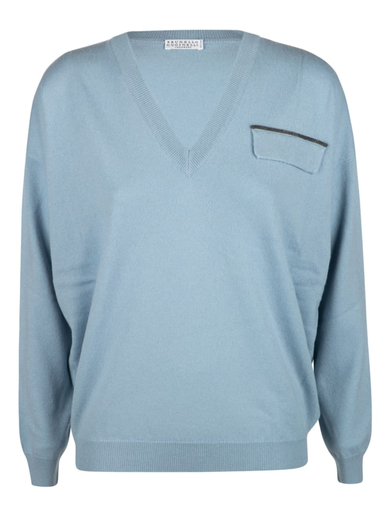 Brunello Cucinelli V-neck Ribbed Sweater - Blue