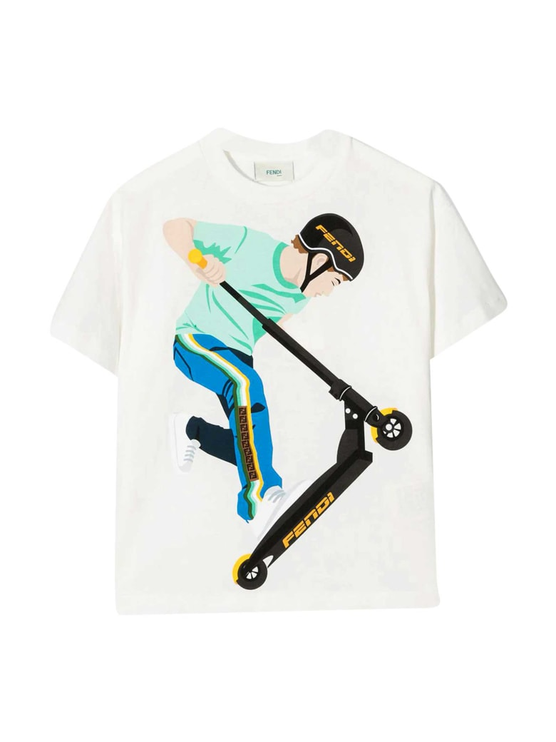 Fendi White T-shirt With Print - Gesso