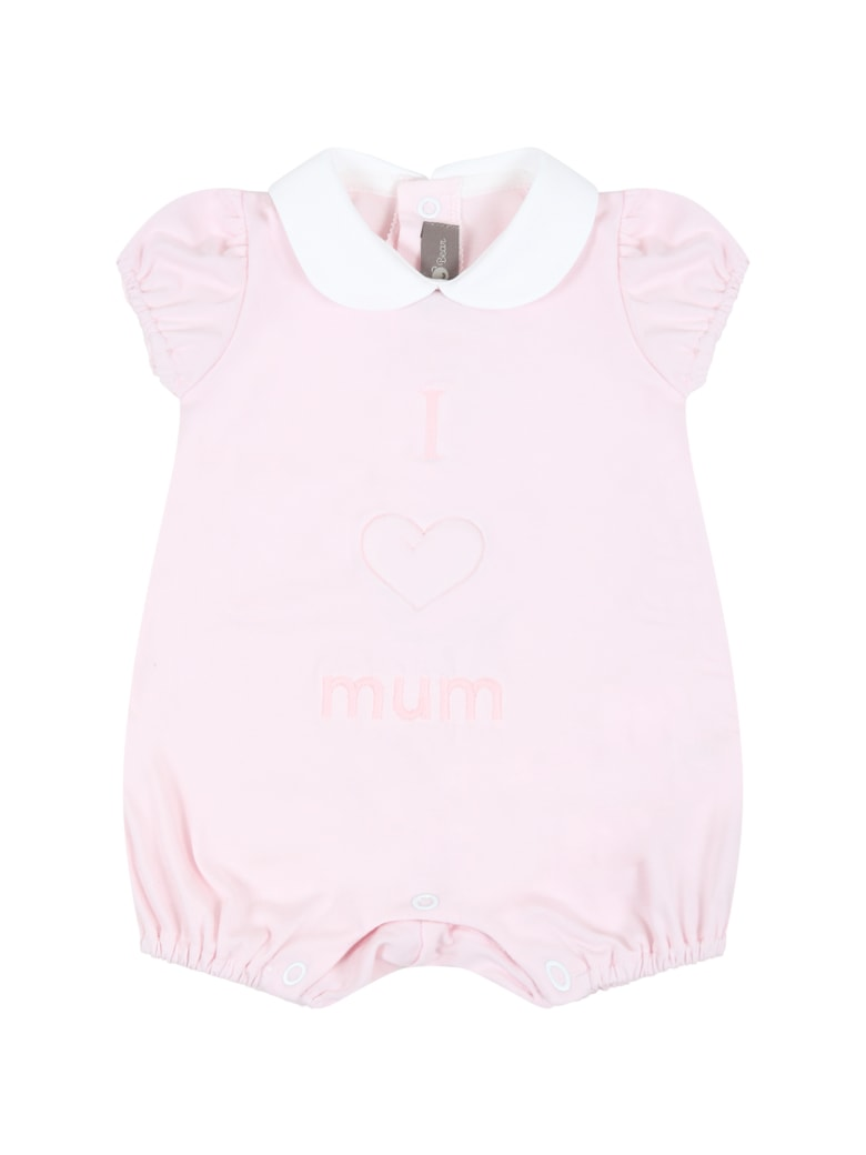 Little Bear Pink Romper For Baby Girl - Pink