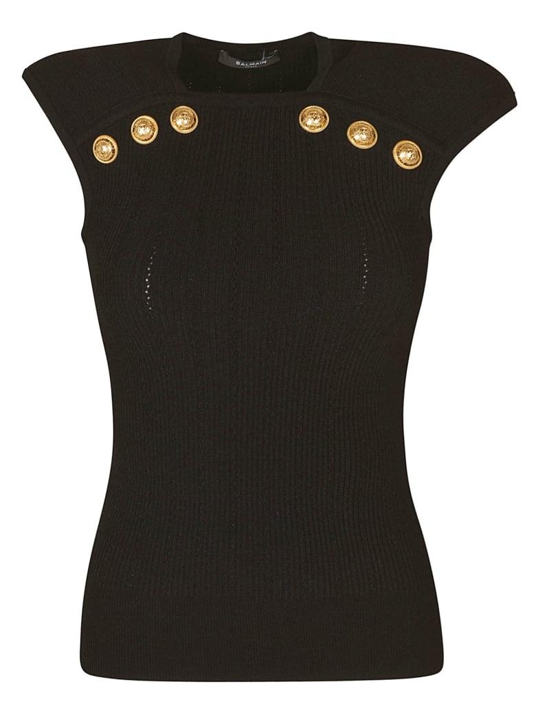 Balmain Button Embellished Sleeveless Knit Top - Black