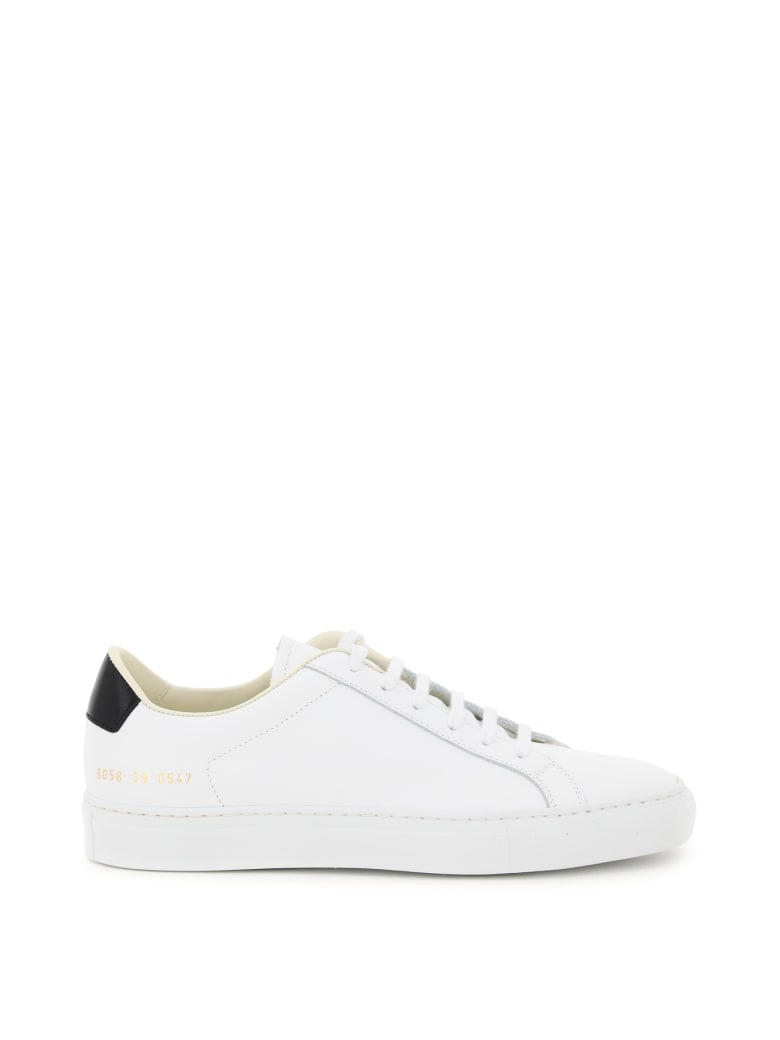 Common Projects Retro Low Leather Sneakers - WHITE BLACK (White)