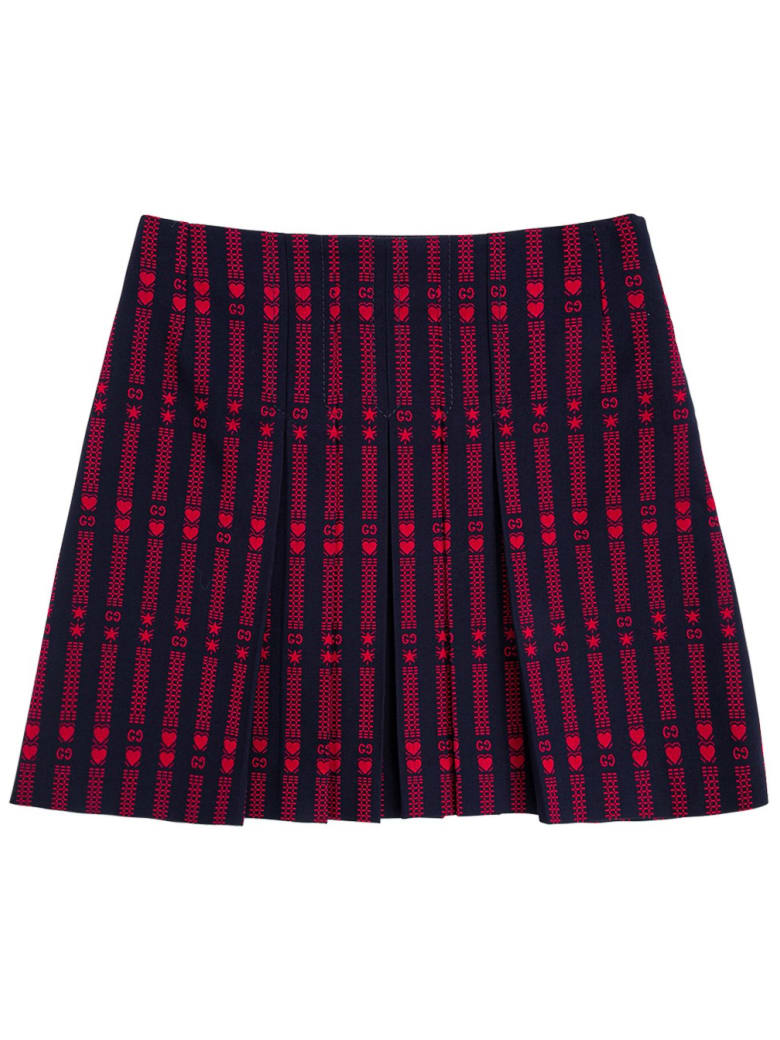 Gucci Cotton Skirt With Stars And Hearts Gg - Blu