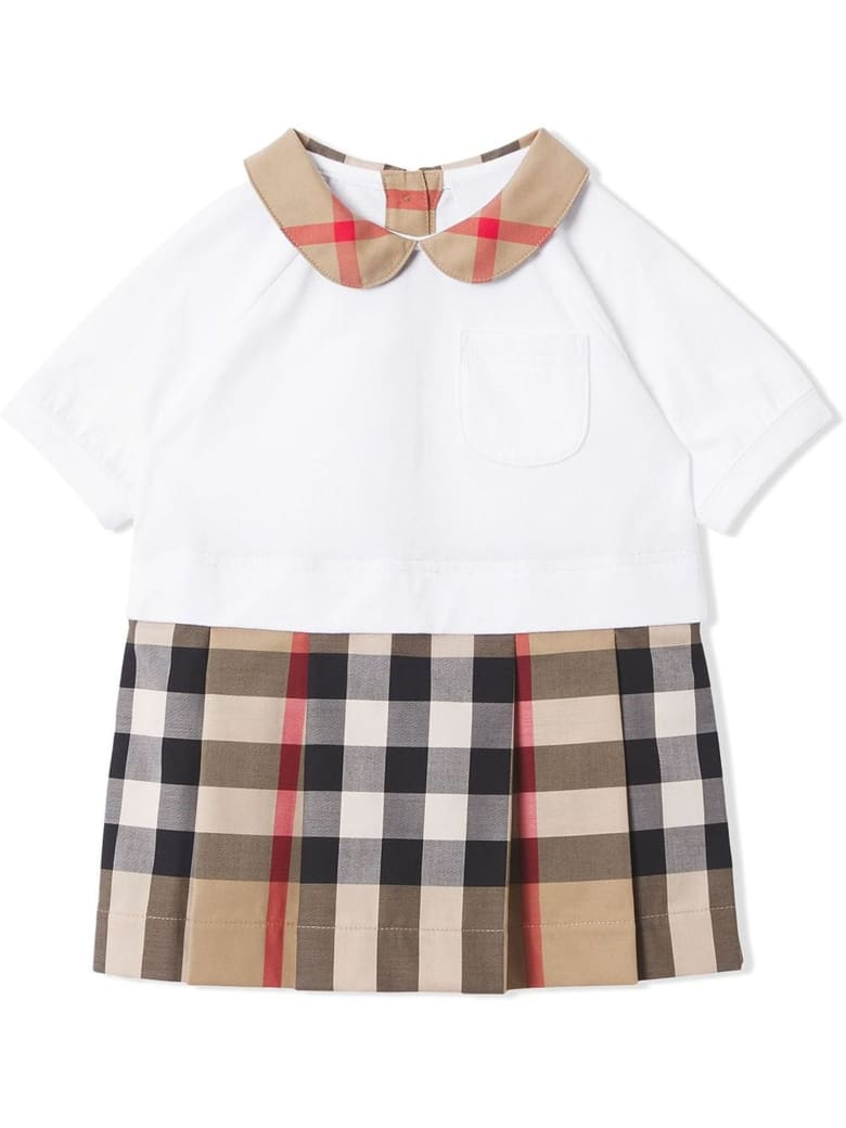 Burberry Beige And White Stretch-cotton Dress - Check