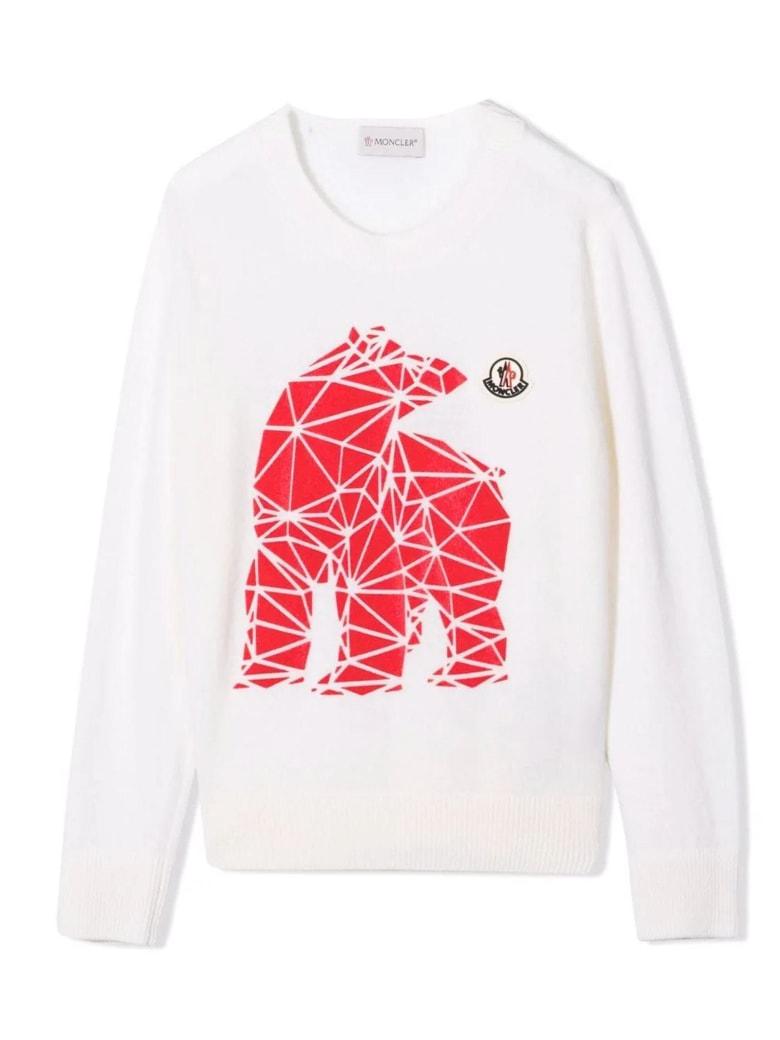 Moncler White Wool Jumper - Panna