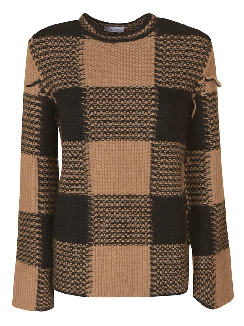 RED Valentino Large Check Pattern Knit Sweater - Camel