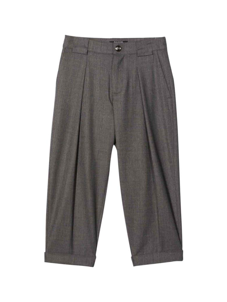 Balmain Gray Teen Trousers - Grigio