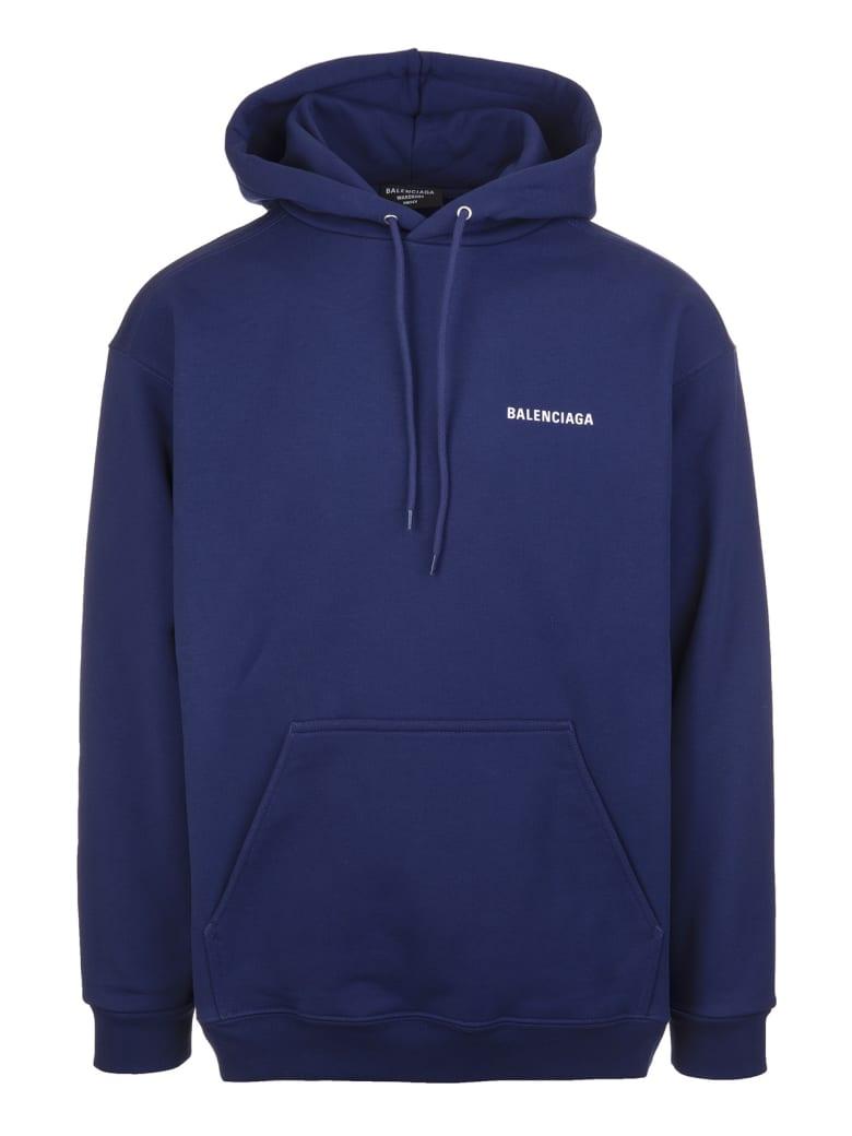 Balenciaga Unisex Dark Blue Balenciaga Wide Line Hoodie - Marine blue/white