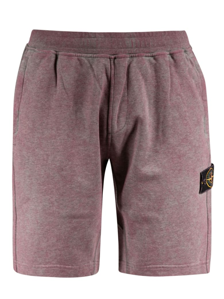 Stone Island Logo Patch Shorts - Indian Red