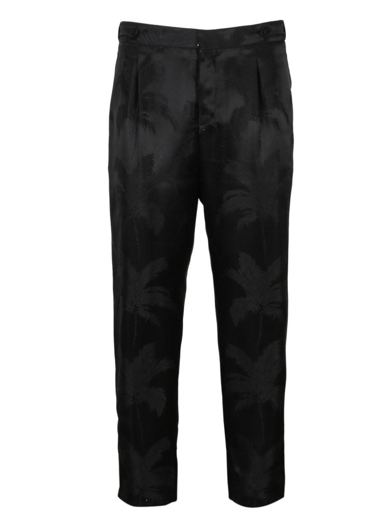 Saint Laurent Satin Pleated Trousers - Black