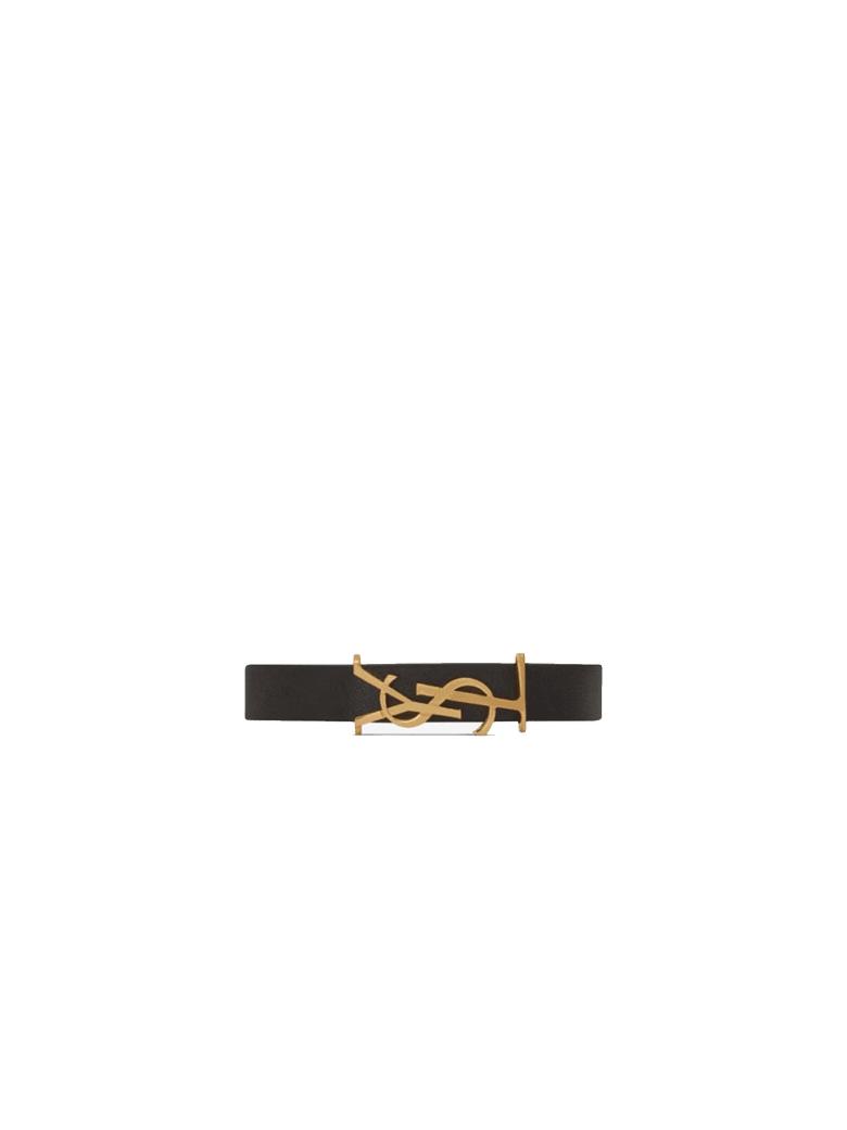 Saint Laurent Opyum Bracelet In Black Leather - 1000 BLACK