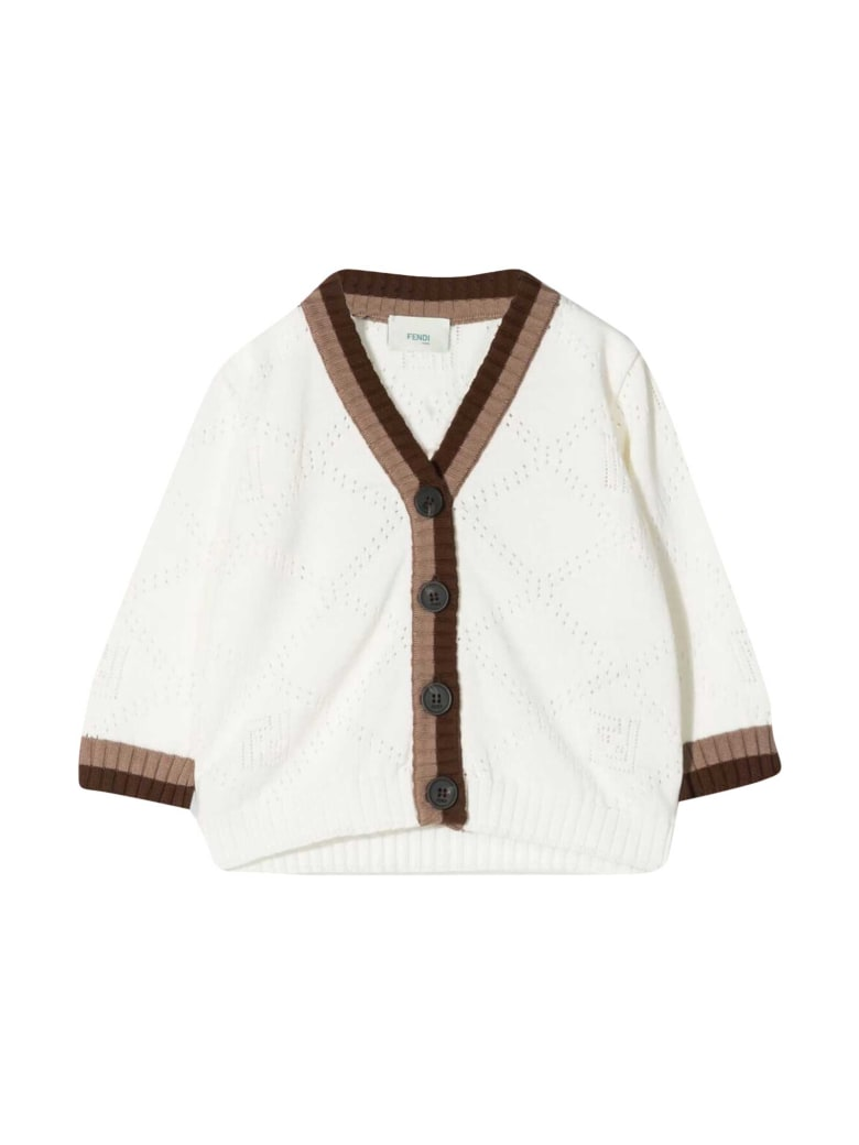 Fendi White Cardigan With Brown Details - Gesso/tabacco