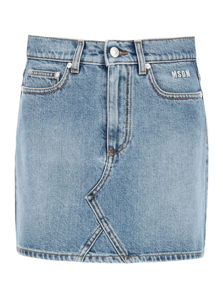 MSGM Denim Mini Skirt With Logo