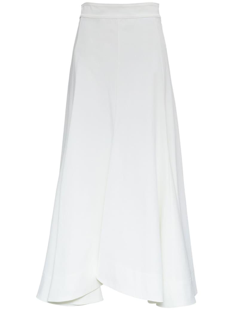 Jil Sander Long Flared White Skirt - White