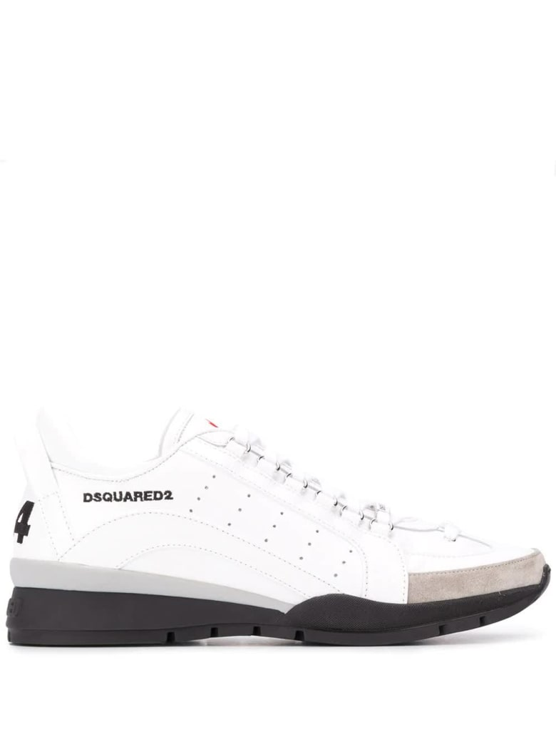 Dsquared2 Man White 251 Sneakers With Suede Toe