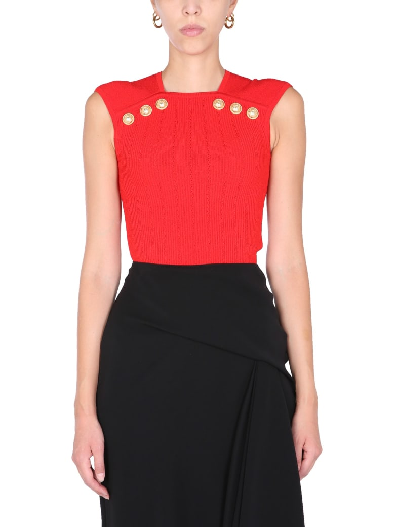 Balmain Knit Top With Embossed Buttons - ROSSO