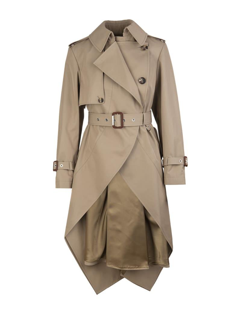 Alexander McQueen Woman Beige Asymmetrical Trench Coat - Beige