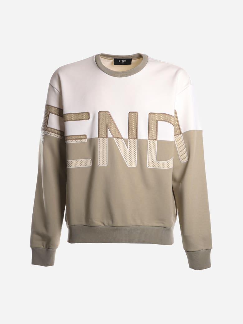 Fendi Oversized Cotton Blend Sweatshirt With Embroidered Logo - Beige