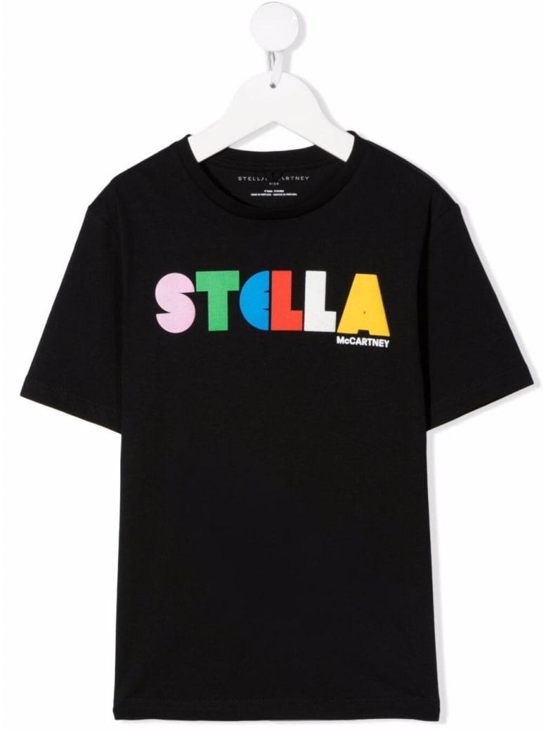 Stella McCartney Kids Black Cotton T-shirt With Logo Print - Black