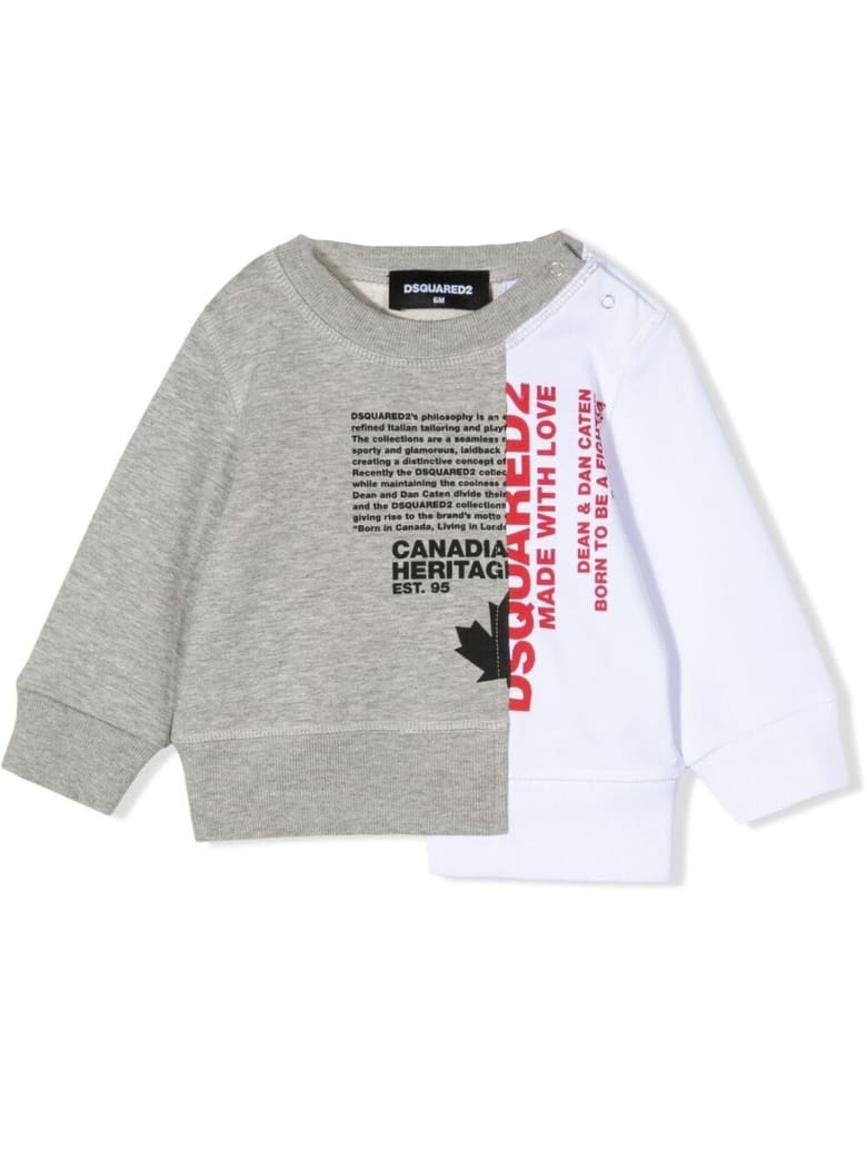 Dsquared2 Grey And White Cotton Sweatshirt - Grigio