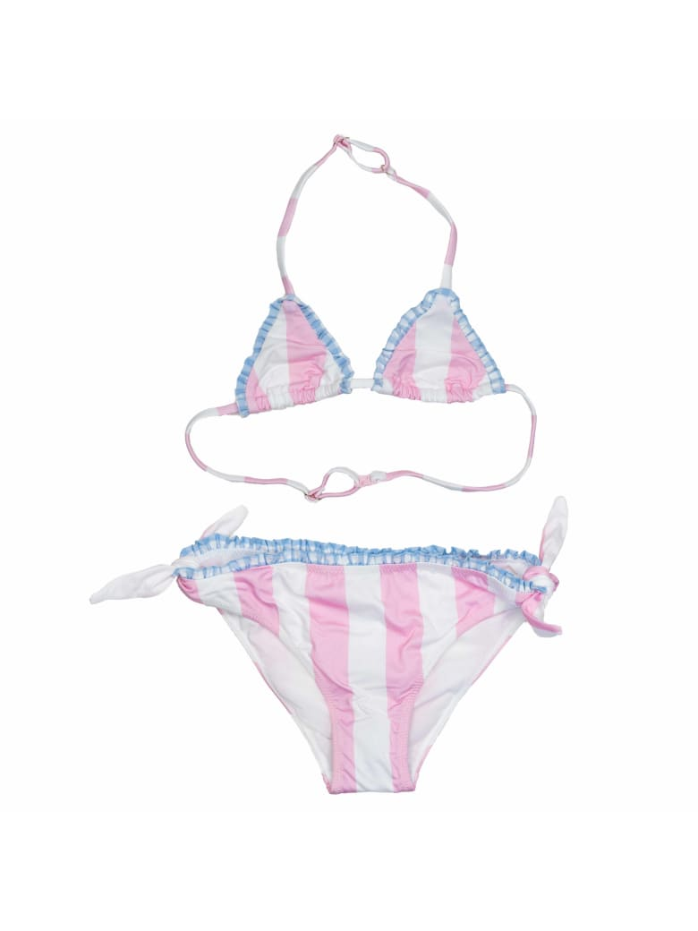 MC2 Saint Barth Stripes White And Pink Bikini Girl's
