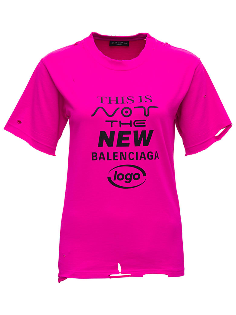 """Balenciaga """"this Is Not"""" T-shirt In Pink Technical Jersey - Fuxia"""