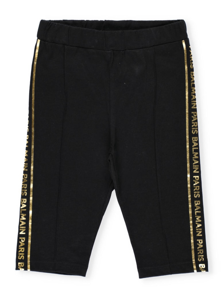 Balmain Stretch Cotton Shorts - Nero/oro