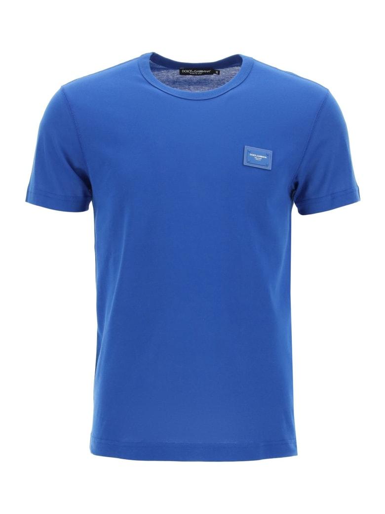 Dolce & Gabbana Cotton T-shirt With Logo Plaque - Blu