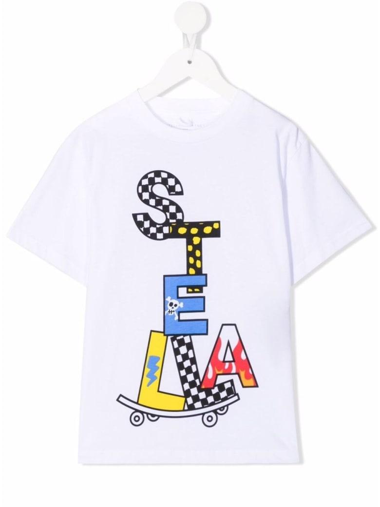 Stella McCartney Kids White Cotton T-shirt With Logo Print - White