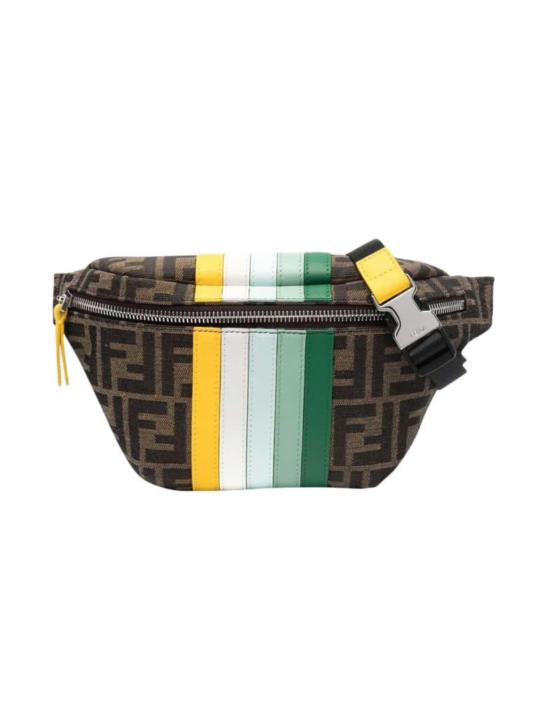 Fendi Ff Striped Belt Bag With Logo - Marrone