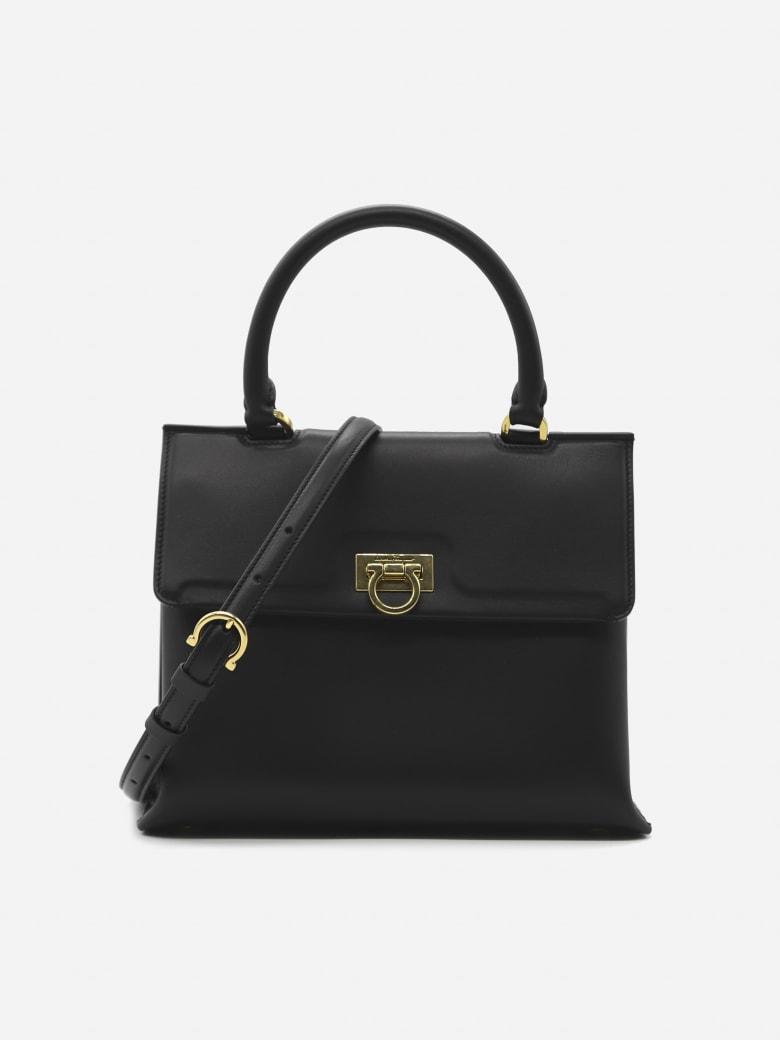 Salvatore Ferragamo Trifolio S Shoulder Bag In Leather - Black