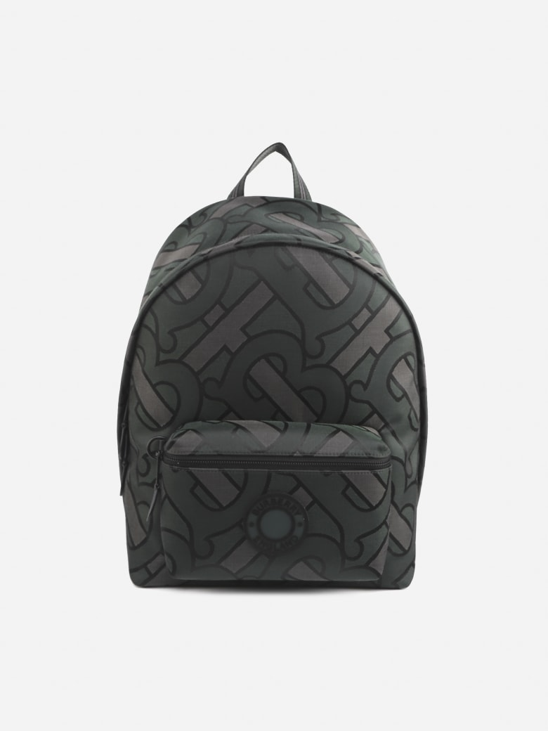 Burberry Cotton Blend Backpack With Jacquard Monogram - Green