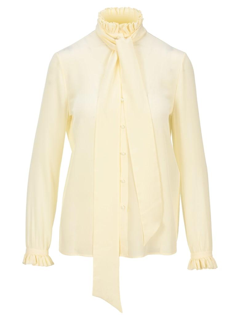 Saint Laurent Pleated Collar Pussy-bow Blouse - Blanc Casse