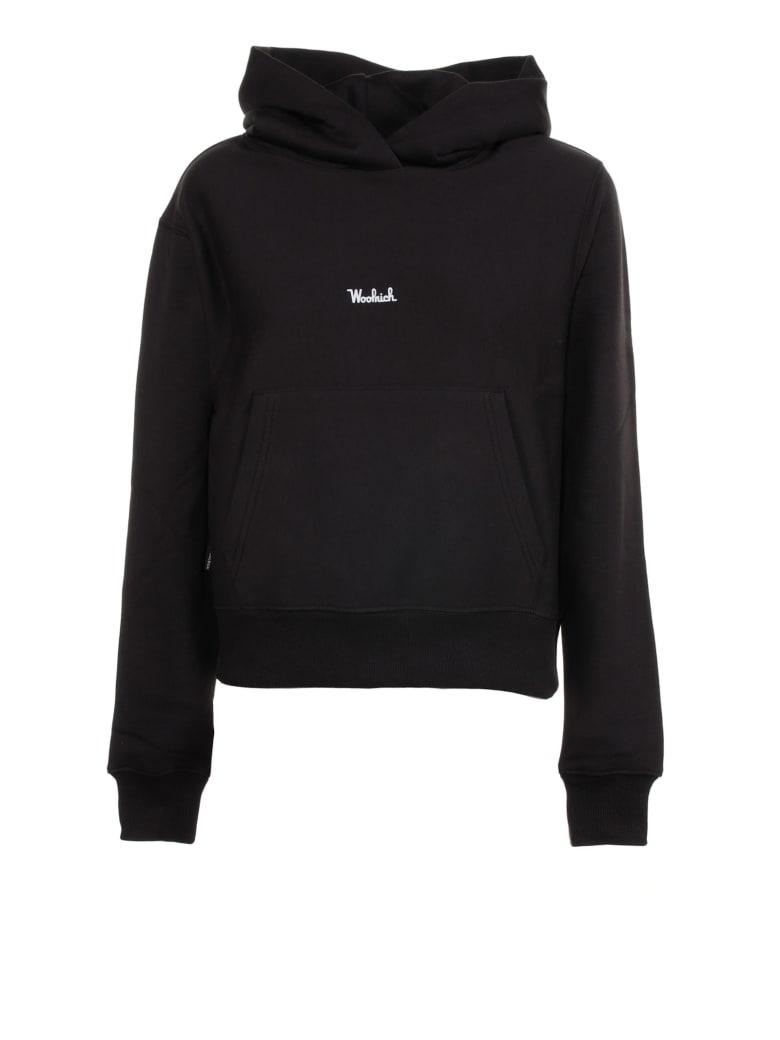 Woolrich Black Hoodie With Front Logo - BLACK