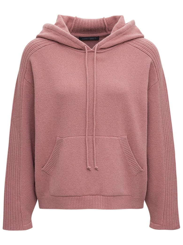 Alberta Ferretti Pink Wool And Cotton Hoodie - Pink