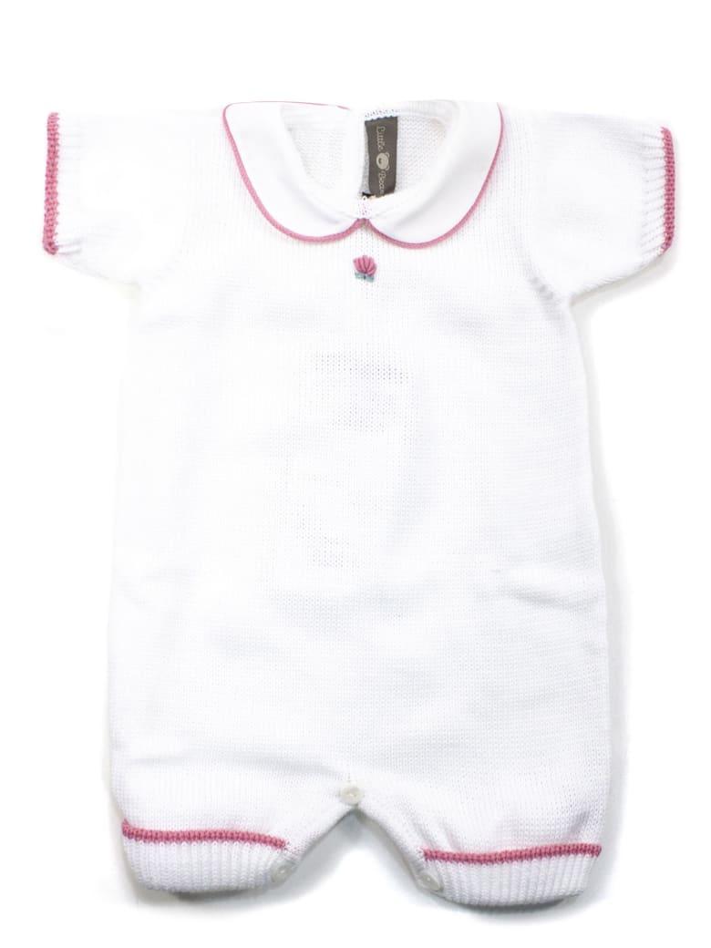 Little Bear White Cotton-blend Romper - Bianco+rosa