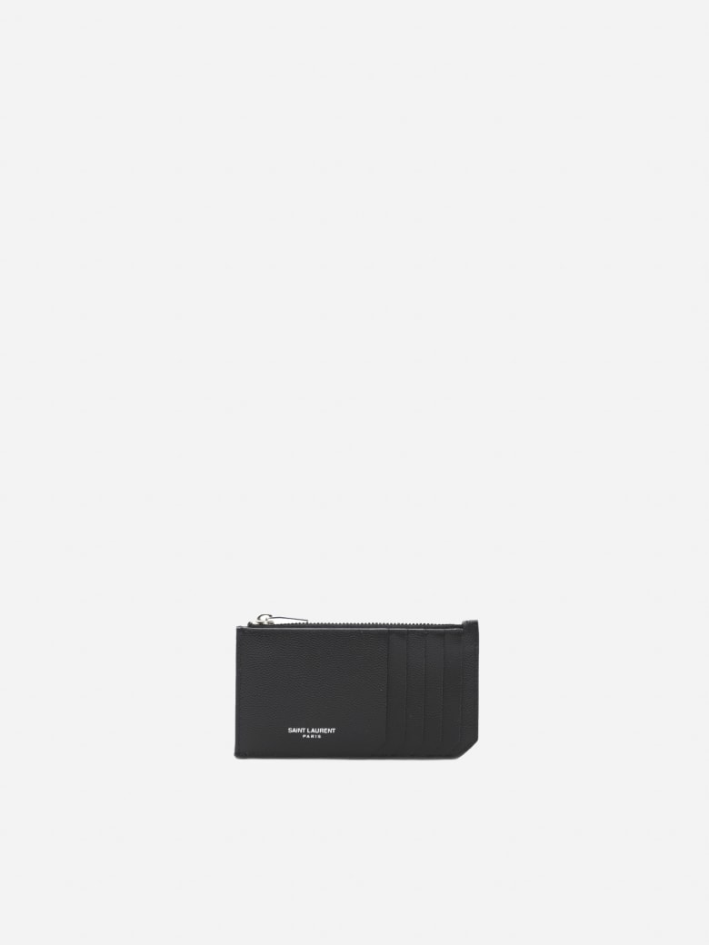 Saint Laurent Paris 5 Fragments Leather Wallet - Black