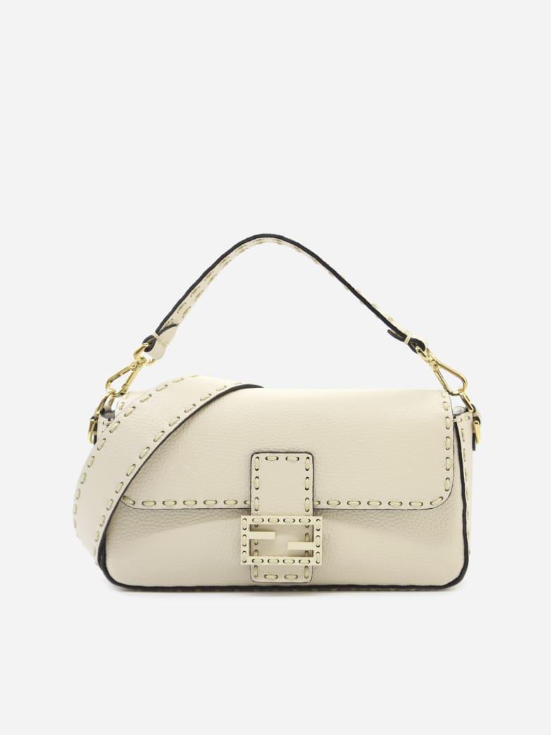 Fendi White Leather Baguette - Camelia